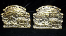 English Peerage Made in England Book Ends Stage Coach Horses  Brass
