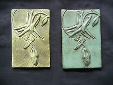 Two Arts Crafts Fuschia Flower Green Pottery Backsplash Tile-Stamped/Marked