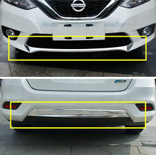 New 2pcs Chrome Front + Rear Bumper Cover Trim for Nissan Sentra 2016