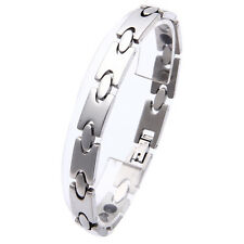 Women Men Magnetic Bracelet Bangle Stainless Steel Silver Fashion Jewelry