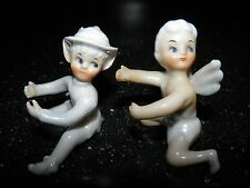 Set of 2 Vintage Elves Pixies Fairy Candle Holders Huggers Climbers Japan