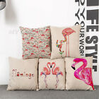 18'' Flamingo Cotton Linen Car Throw Sofa Pillow Case Cushion Cover Home Decor