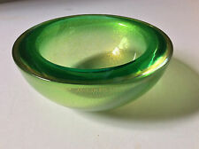 Vintage 50's 60's Sommerso Murano Art Glass Free Form Green & Gold Geode Bowl