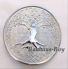 KILT BELT BUCKLE CELTIC TREE OF LIFE CIRCULAR CHROME FINISH HIGHLANDWEAR KILTS