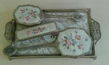 Vintage 4 Piece Delina Petit Point Vanity / Dressing Table Set inc Tray