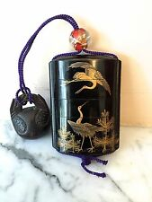Japanese Antique INRO Meiji CRANES PINE TREES Gold Sagemono Glass Ojime  Netsuke