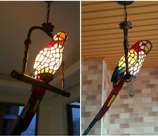 Vintage Ceiling Style Chandelier Stained Glass Parrot Decor Pendant Lamp Light