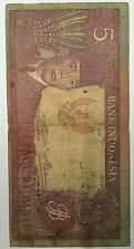 1960  Indonesia 5 rupiah Sukarno QET 013062  paperbanknote! scare! very nice!