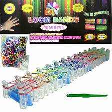 NEW DIY LOOM KIT SET COMES WITH 25 S CLIPS AND 600 RAINBOW COLORS RUBBER BANDS