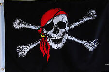 RED HAT JOLLY ROGER PIRATE FLAG - DOUBLE SIDED  2' X 3'  SKULL AND CROSSED BONES