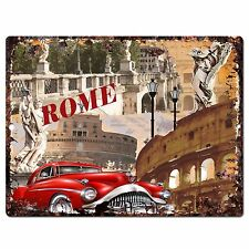 PP0785 ROME Classic Old Car Chic Plate Sign Home Shop Restaurant Cafe Decor