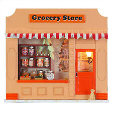 DIY Doll House Room Grocery Store Dollhouse Miniatures LED Furniture Kit Light