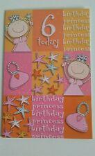6 SIX  Birthday Card Girls 6 today Happy Birthday Card Birthday Princess Card
