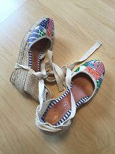 COACH wedge patchwork summer beach heels 6 M EUC summer wedges wrap up