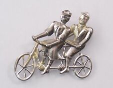 Vintage L.S. 925 Sterling Silver Man & Woman on Bicycle Pin Brooch (#5131)