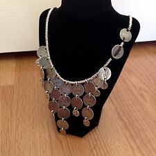 "NWT Uno de 50 Silvertone Spanish Coin Necklace ""No Budget Cut"" 17"" + 3"" In Coins"