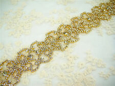 Stunning Gold Beaded Motif Crystal Bridal Applique Diamante Wedding Applique