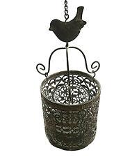 Windlicht Metall Vogel Glas rund antik Laterne Teelichthalter marokko zum Hängen