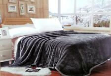 "Lina Queen Grey Solid Reversible Soft Mink Blanket - Size (78"" x 90"" Inch)"