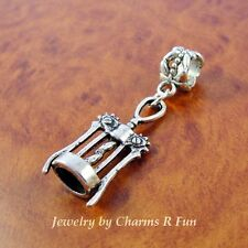 Wine Corkscrew Charm with slider bead fits silver European Charm Bracelet