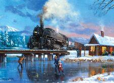 Malen nach Zahlen -  Eisenbahn im Winter  Komplettset -  Größe ca. 30 cm x 39 cm