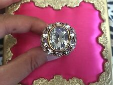 Betsey Johnson Vintage SPARKLY HUGE Clear Crystal Ball Jewel Dome Gold Ring 7.5