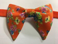 Handmade Orange Floral Bow tie Vintage style 70`s Bowtie Pre-tied Adjustabl