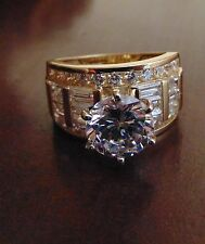 Solid 14k Yellow Gold 4.0ct Man Made Diamond Engagement Wedding Ring size 8
