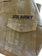 Vintage & Worn WWII Vietnam War USA Army Combat Shirt Solid Green Patches