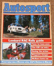 Autosport 22/11/84 with 1984 RAC RALLY GUIDE SUPPLEMENT - Manta 400 Rover SD1
