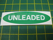 1 OVAL UNLEADED FUEL STICKER IN Green with White text