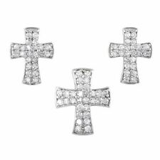 Elegant 925 Sterling Silver CZ Pave Cross Pendant with Stud Earring Set