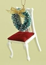 "AN EMPTY CHAIR Memorial Christmas Ornament, Wreath on Chair, 3.5"" Tall, by Roman"