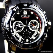 Mens Invicta Pro Diver Scuba Black Silver Tone Chronograph Rubber 48mm Watch New