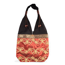 MAROON RUST GOLD SILK BLACK COTTON EMBROIDERED SHOULDER BODY BAG TOTE PURSE