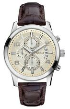 Guess Mens Exec Brown Leather Strap Chronograph Watch W0076G2
