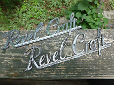 (2) Revel Craft chrome scripts emblems badges ornaments decals Antique Vintage