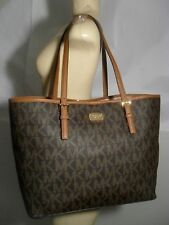 NWT Michael Kors Jet Set Brown MK Signature Carryall PVC Large Tote Shopper Bag