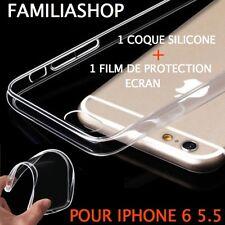 Housse étui pochette coque transparent gel silicone iphone 6 plus + 1 FILM ECRAN