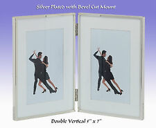 "Silver Plated Double 2x(7""x5"") Portrait Photo Frame with Mount.(Mayfair 138675 )"