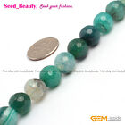 "Natural Green Crackle Agate Onyx Stone Loose Beads Strand 15"" Faceted Round"
