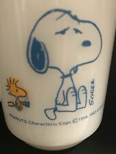 Snoopy Peanuts Woodstock Mug Anchor Hocking Fire King Milk Glass Coffee Cup
