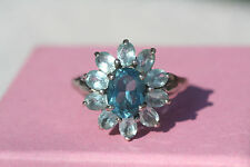Sterling Silver Blue Topaz Cluster Ring Flower Ring