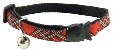 Red Tartan Cat Kitten Puppy Safety Clip Collar with Bell