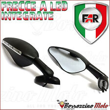 FAR COPPIA SPECCHI NERI RETROVISORE MOTO UNIVERSALI CARENATE FRECCE A LED