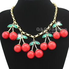 Statement 10 Big Red Cherry Gold Chain Crystal Choker Bib Necklace Rockabilly