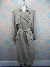 Vintage 1980s Ladies Long Sage Green Double Breasted Retro Trench Coat Mac 10/12
