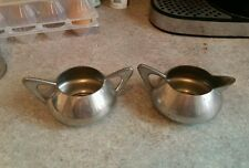 THMARTHINSEN NORWAY PEWTER ART DECO SPUTNIK STYLE SUGAR BOWL AND MILK JUG