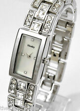 HENLEY Ladies Rectangular Silver Tone Bracelet Watch, Square & Circular Crystals