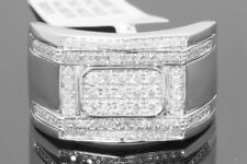 10K WHITE GOLD .56 CARAT MENS REAL DIAMOND ENGAGEMENT WEDDING PINKY RING BAND